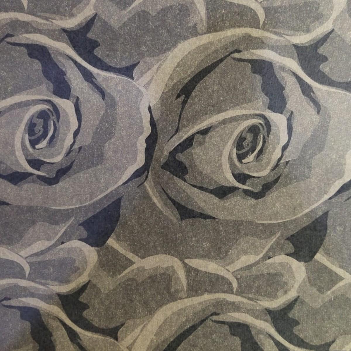 Black Floral Print 50cmx25m Kraft Paper - 1 Roll