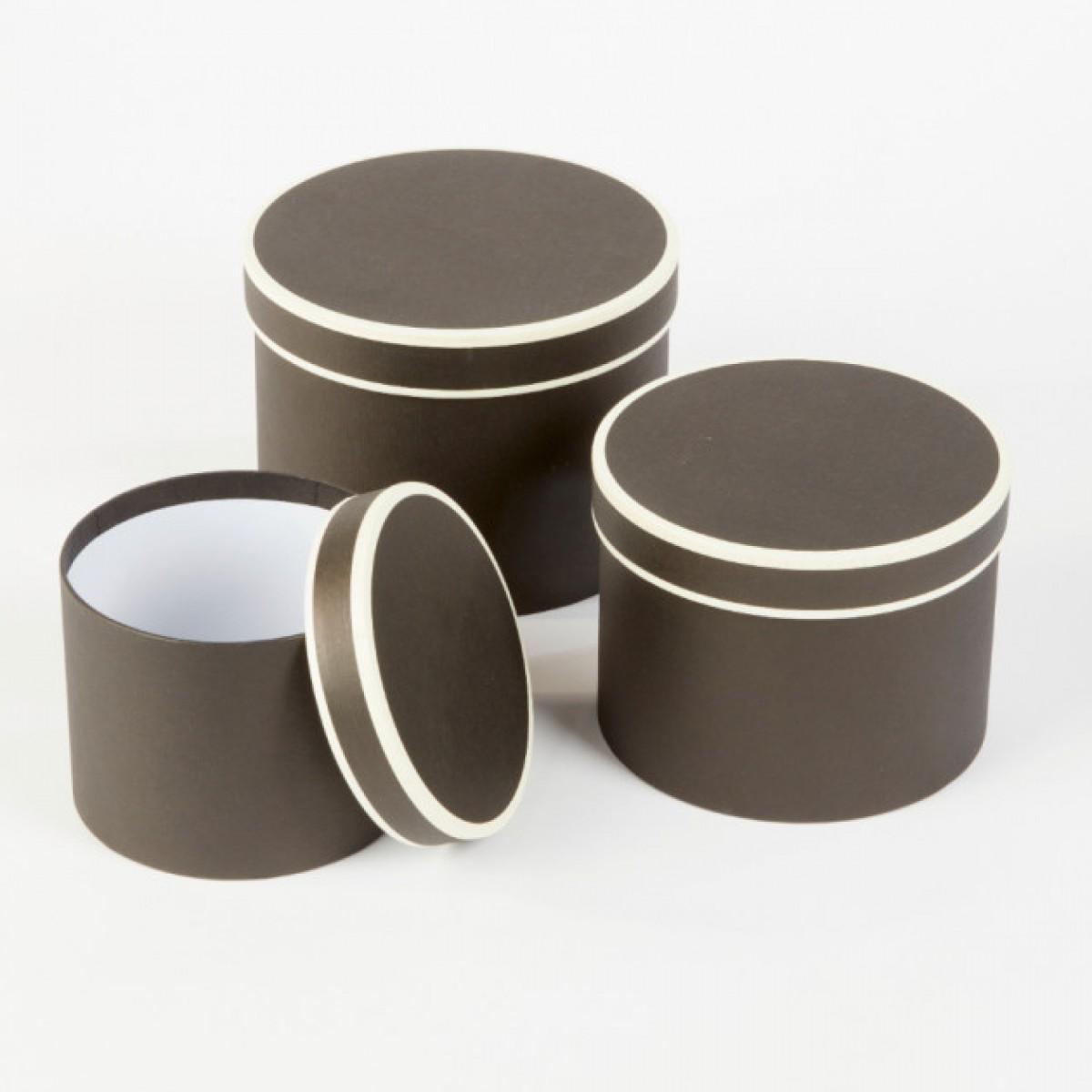 5006 Black/Cream Round Paper Gift Box Lined  - Set of 3