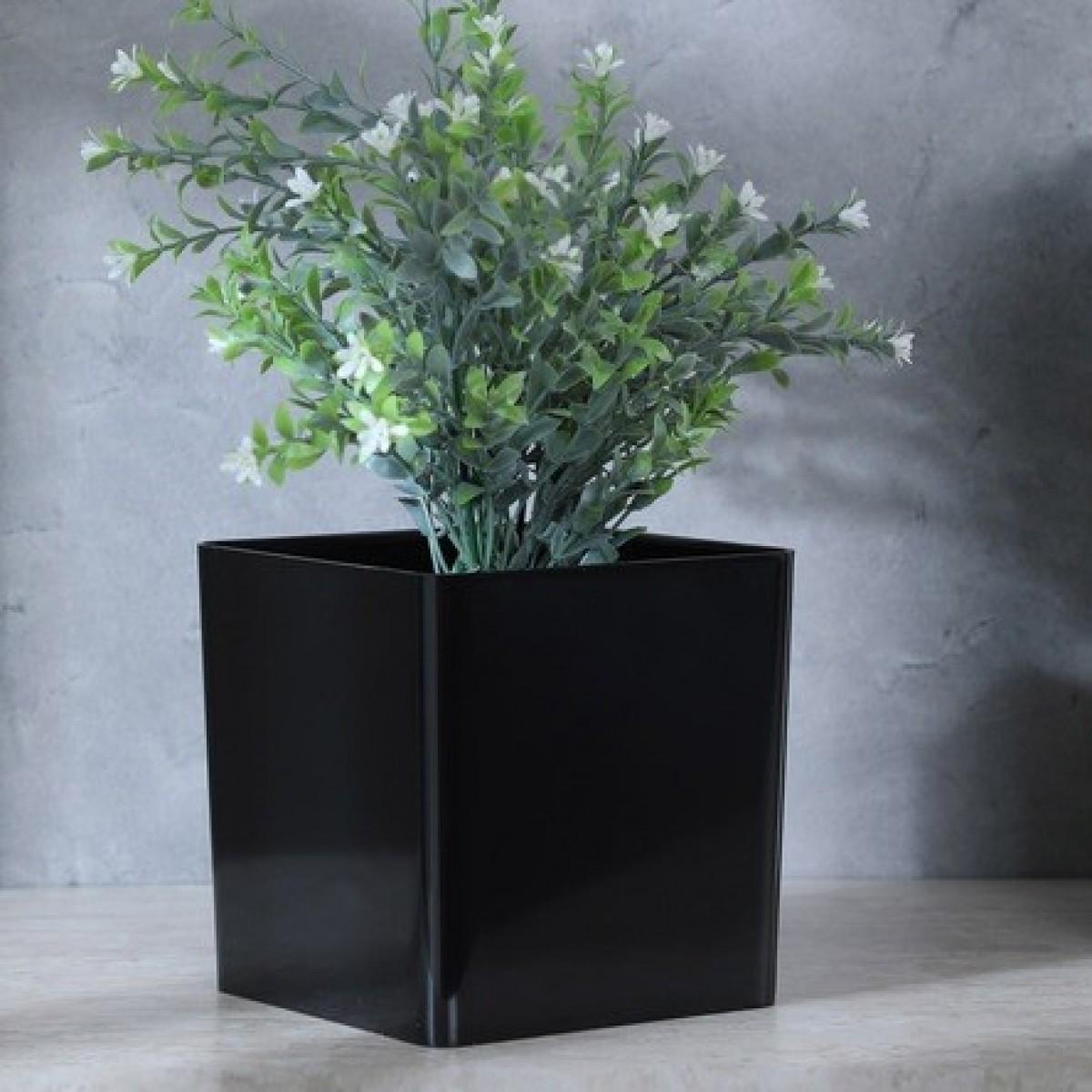 Cube Black 13x13x13cm Acrylic Vase - 1 No