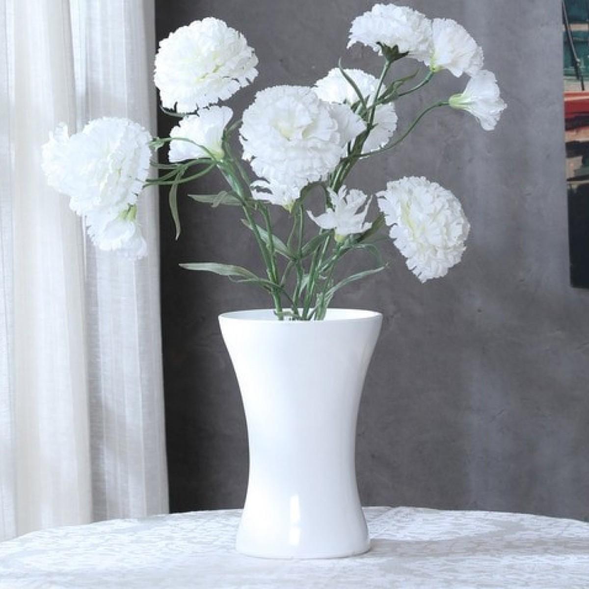 5122 Hantied White 14x20cm Acrylic Vase - 1 No