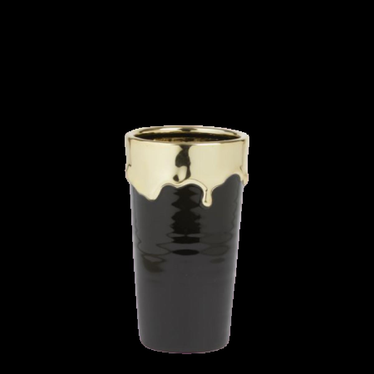 Abajo Black & Gold 12x20.5cm Ceramic Vase - 1 No