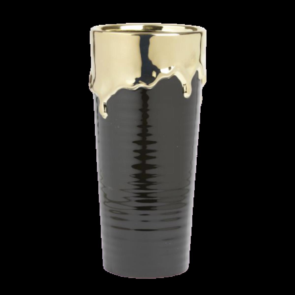 Abajo Black & Gold 14x30cm Ceramic Vase - 1 No