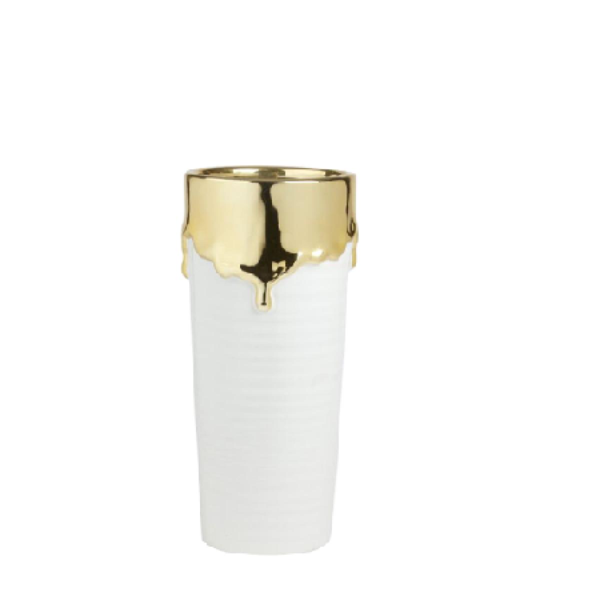 Abajo White & Gold 12x20.5cm Ceramic Vase - 1 No