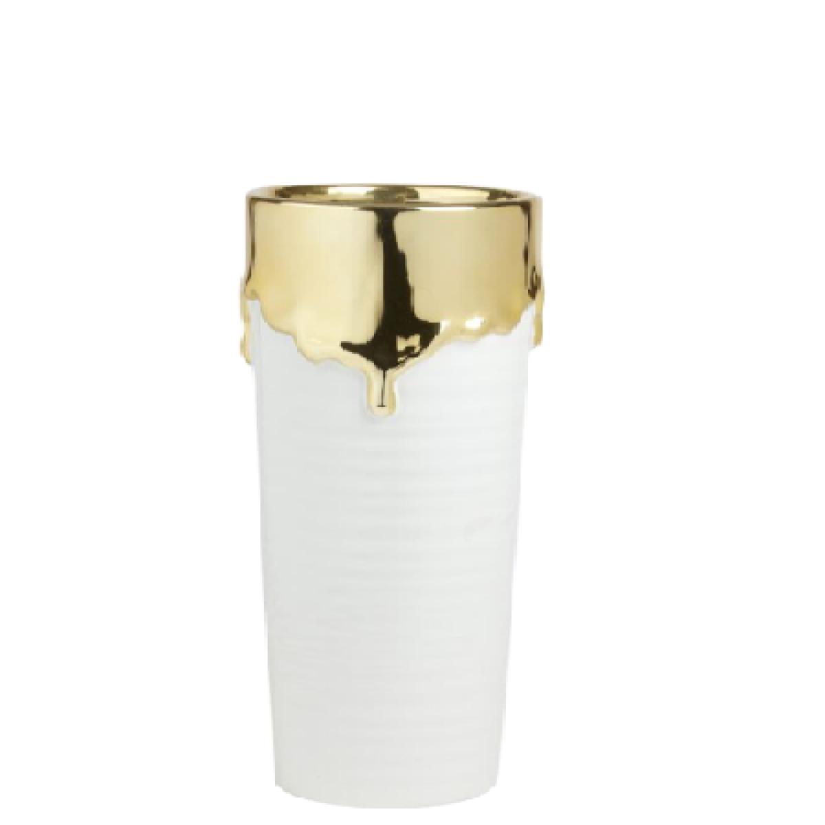 Abajo White & Gold 14x30cm Ceramic Vase - 1 No