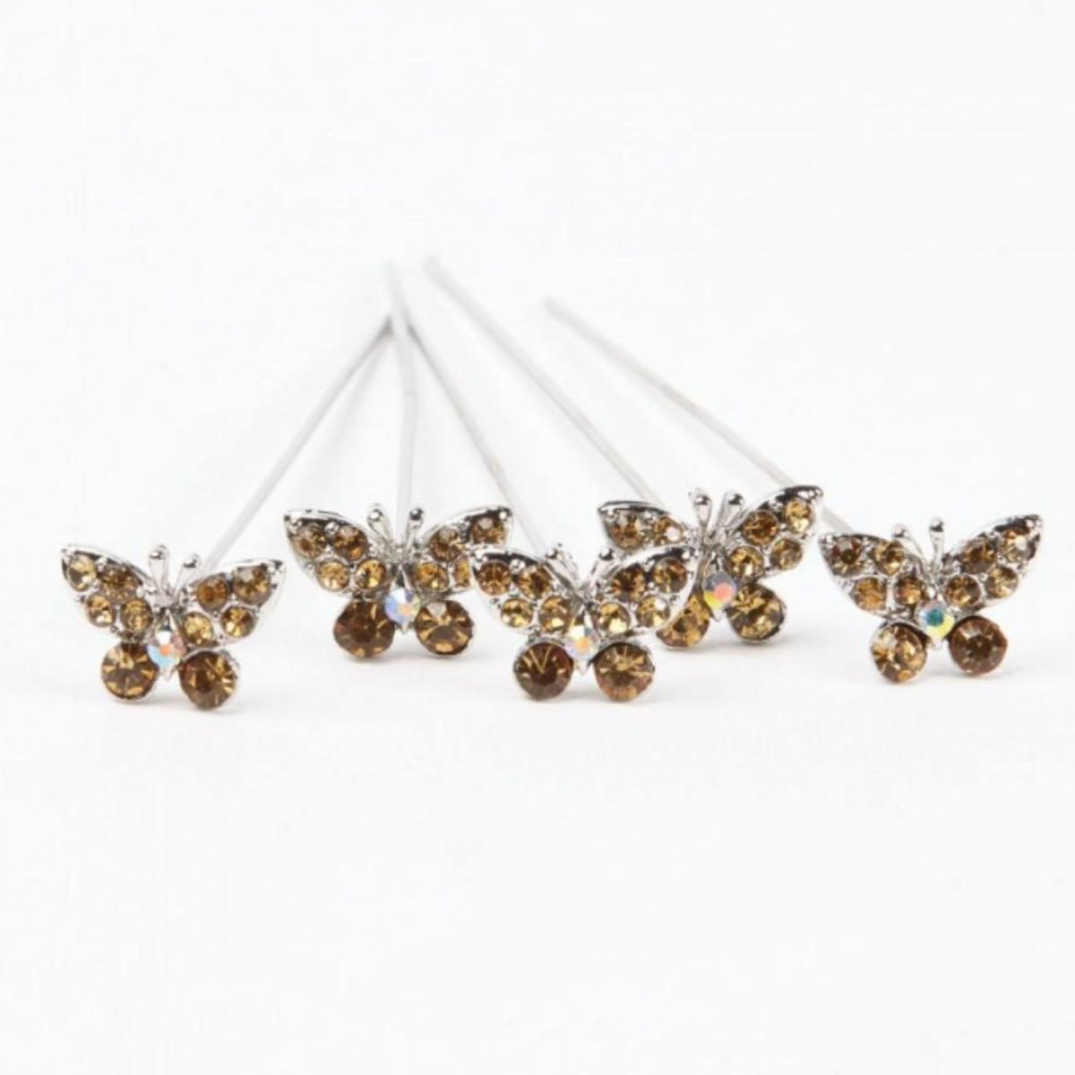 4181 Karas Kisses Butterfly Brown Gold 10mmx8cm 5 Pins
