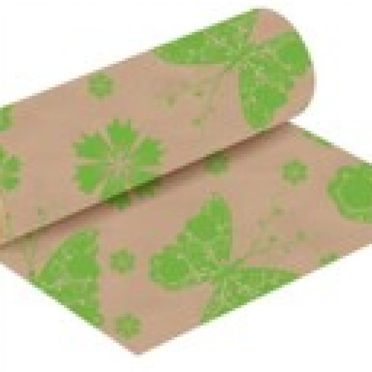 Butterflies Print Lime Green 50cmx25m Kraft Paper - 1 Roll