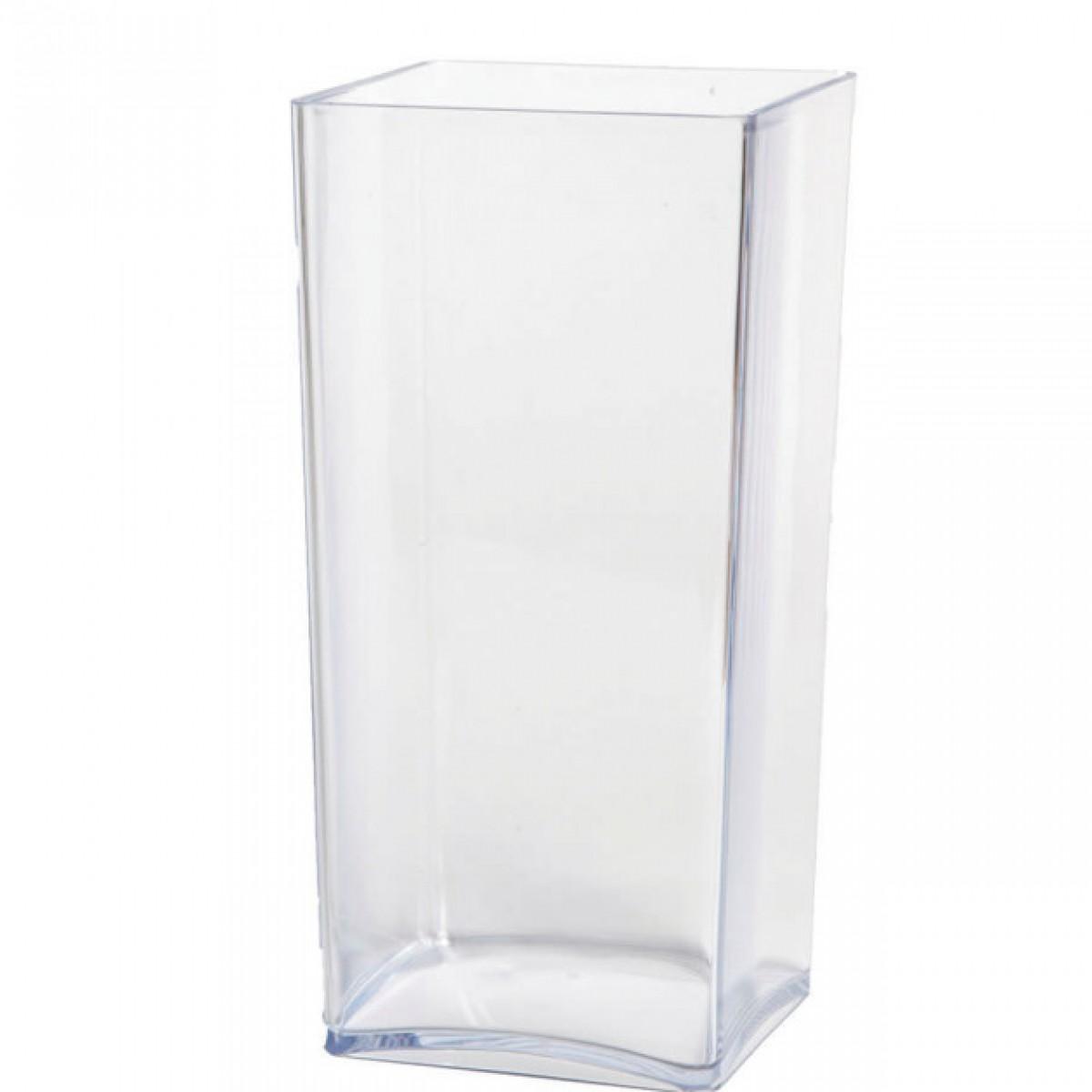 Cube Clear 12x12x25cm Acrylic Vase - 1 No