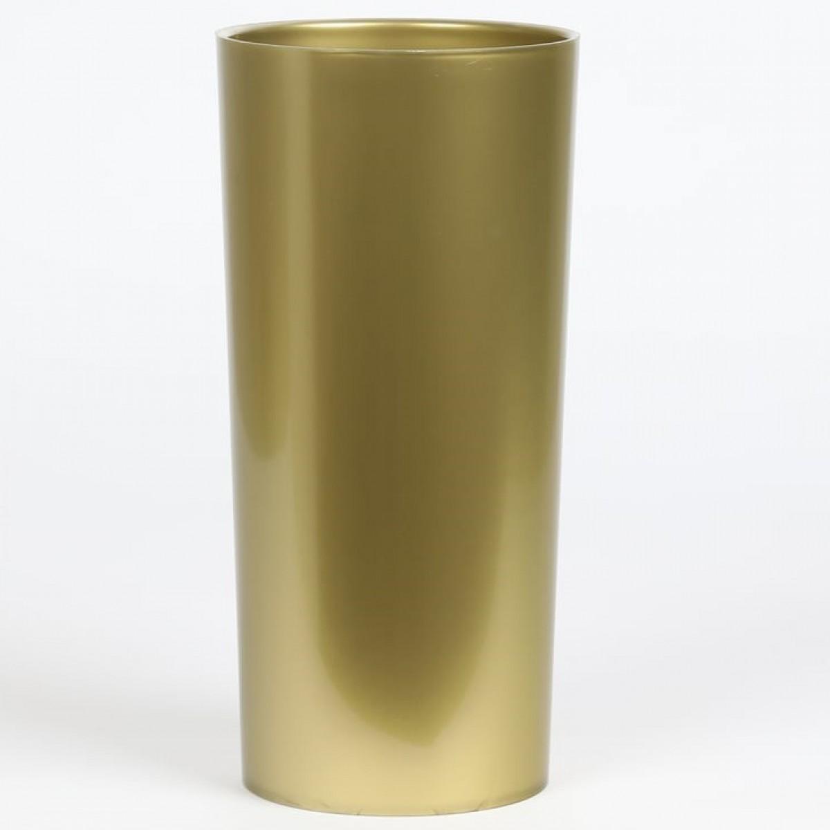 Cylinder Gold 12x25cm Acrylic Vase - 1 No
