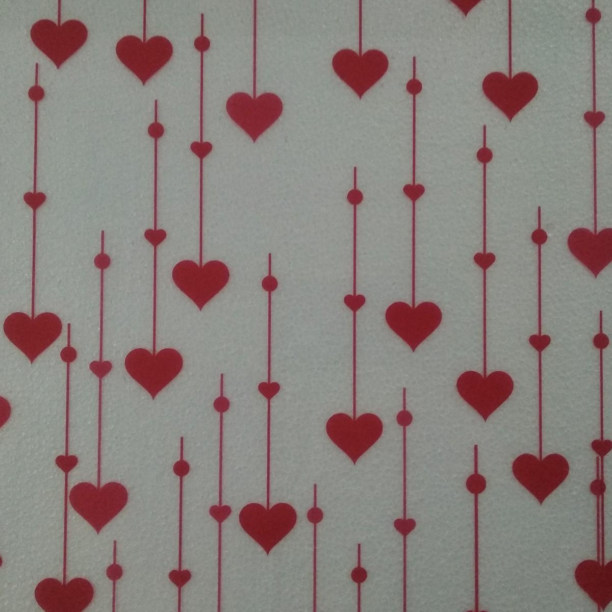 7062 Raining Hearts Red 80cmx25m 50mic Film - 1 Roll