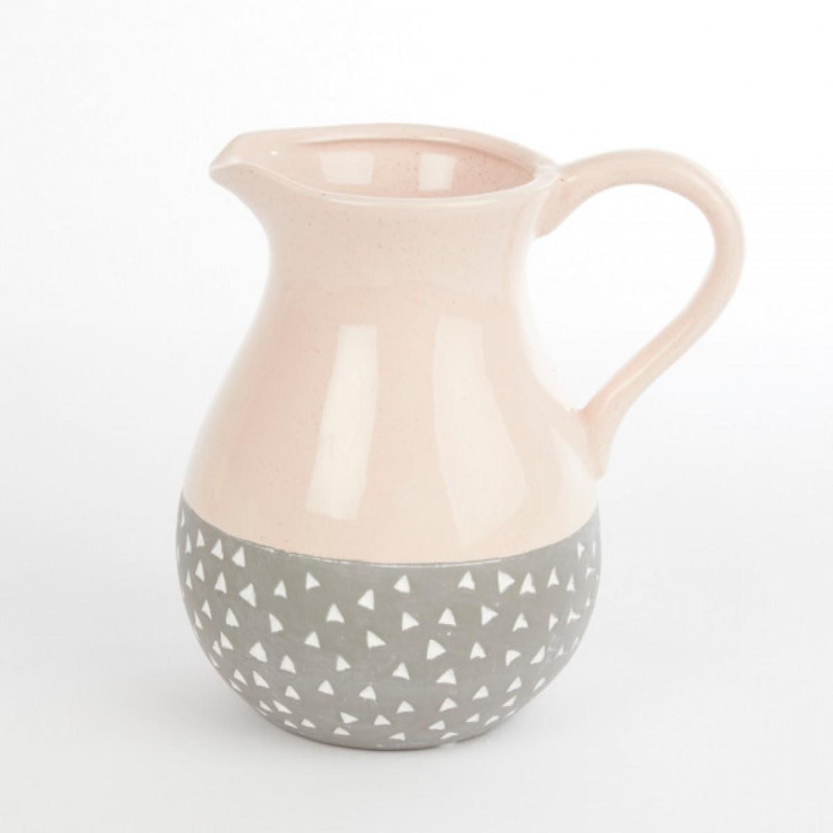 Ceramic Isabella Jug Pink/Grey 20cmX15cmX20cm
