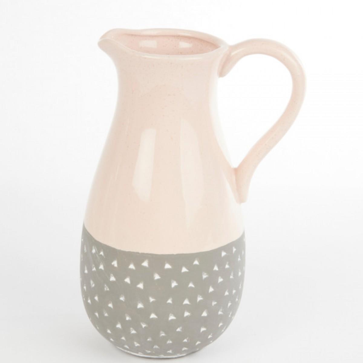 Ceramic Isabella Jug Pink/Grey 19.5cmX13.5cmX26.5cm