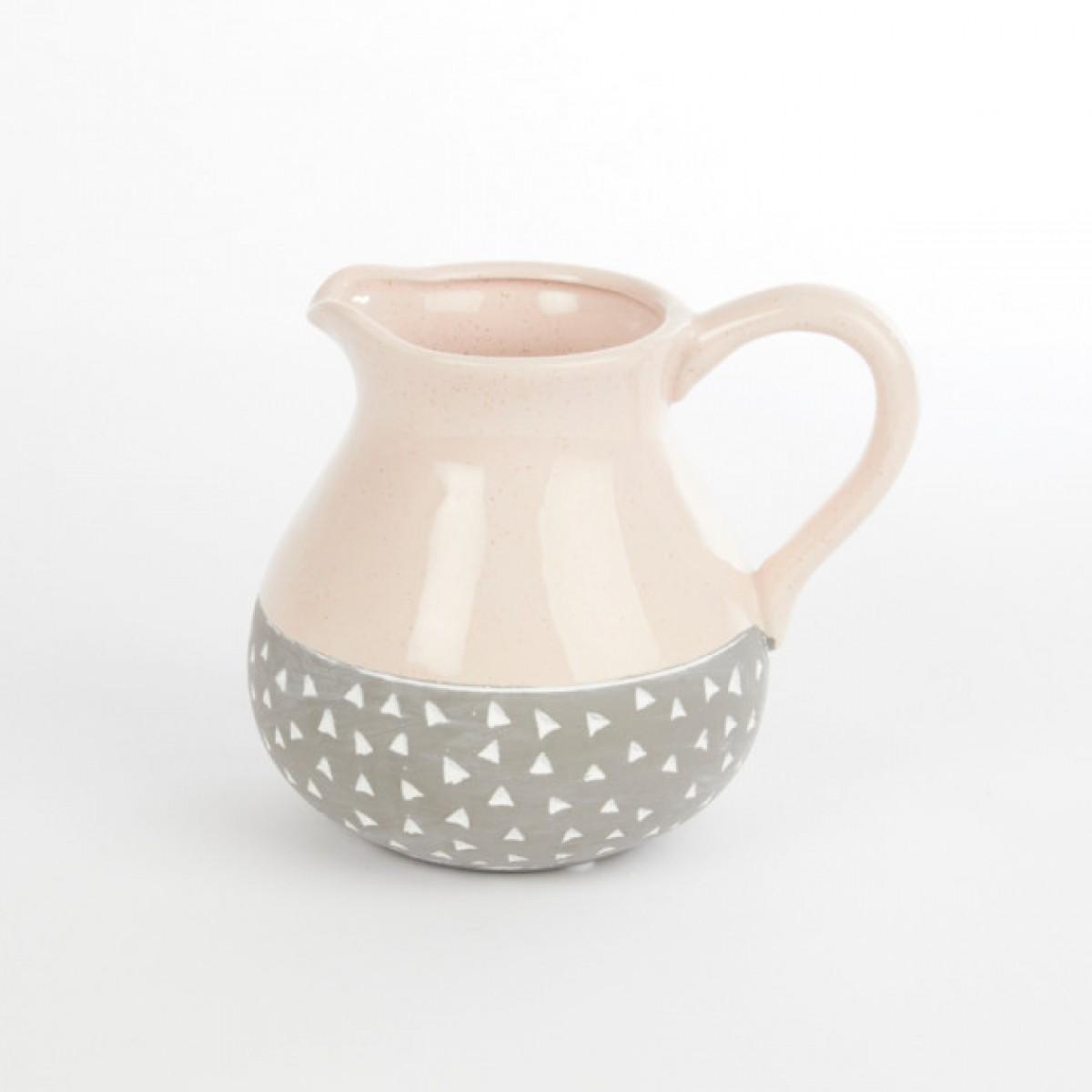 Ceramic Isabella Jug Pink/Grey 17.5cmX13.5cmX15cm
