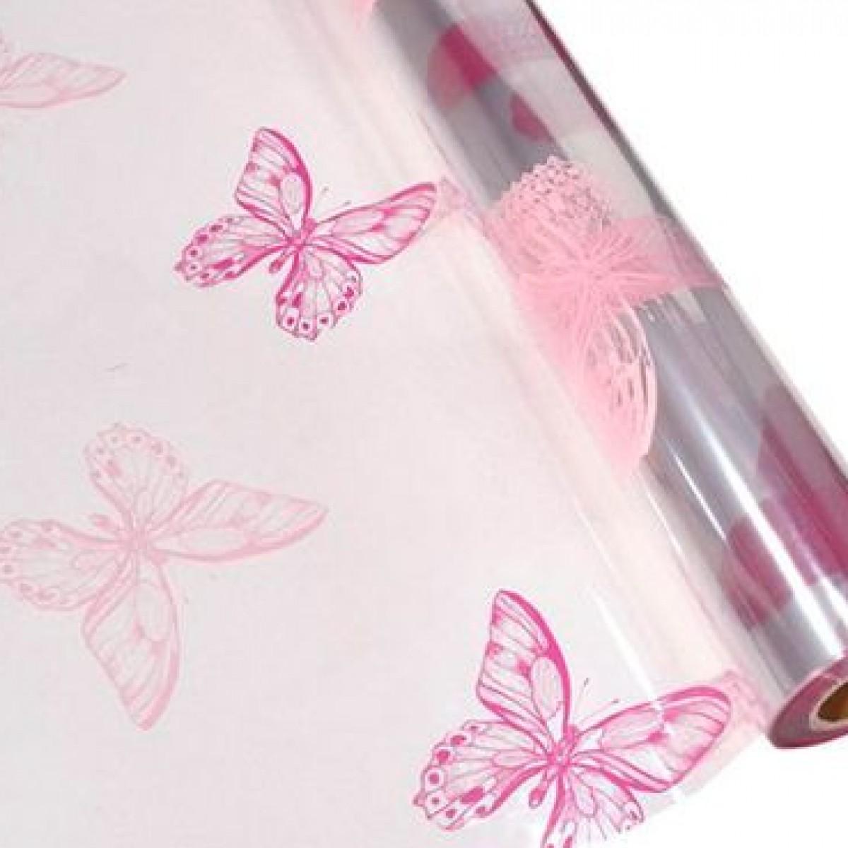 7066 Butterflies Pink 80cmx25m 50mic Film - 1 Roll