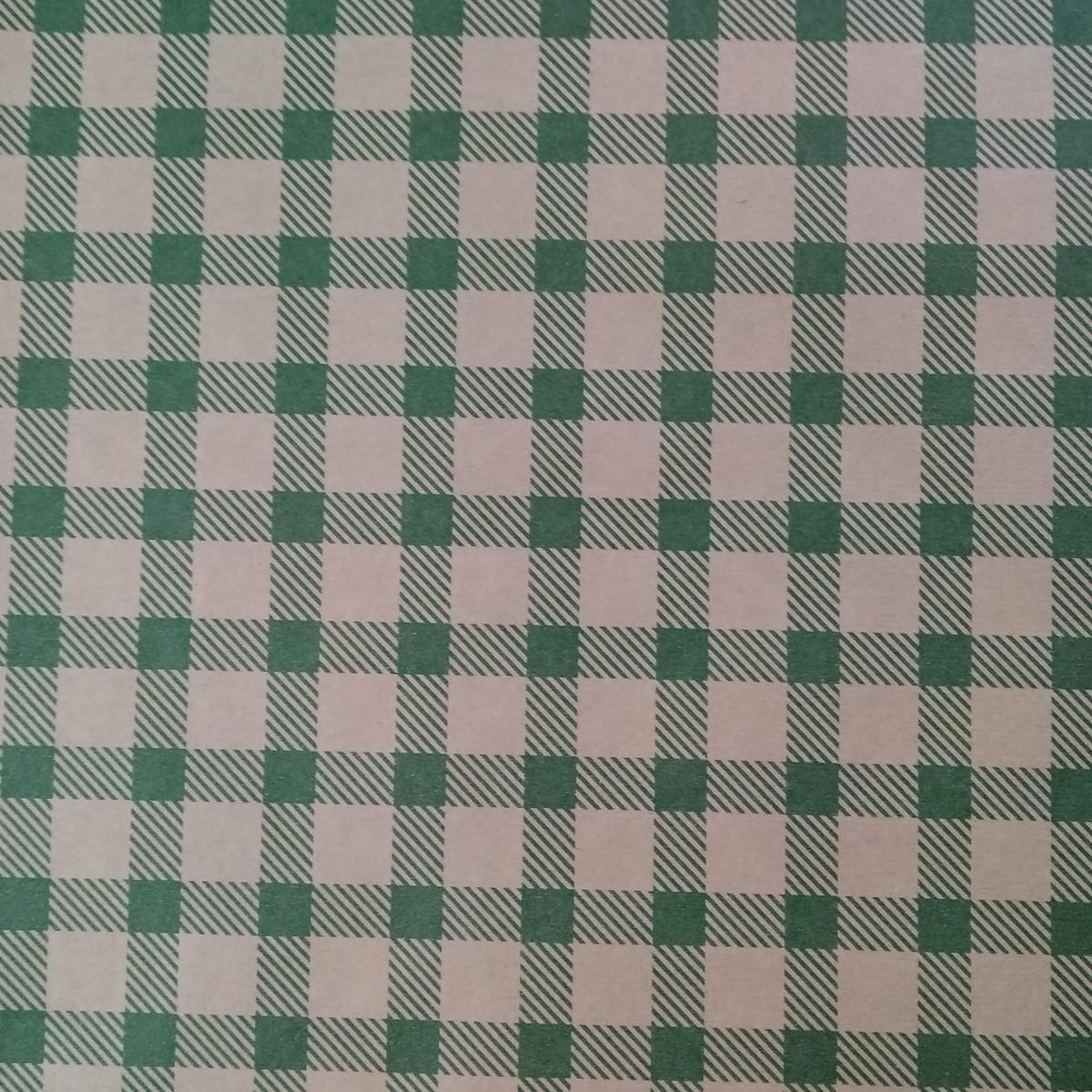 7215 Chex Print Dark Green 50cmx25m Kraft Paper - 1 Roll