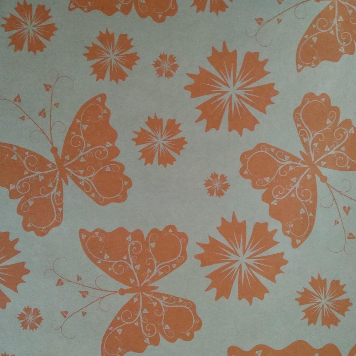 7209 Butterflies Print Orange 50cmx25m Kraft Paper - 1 Roll