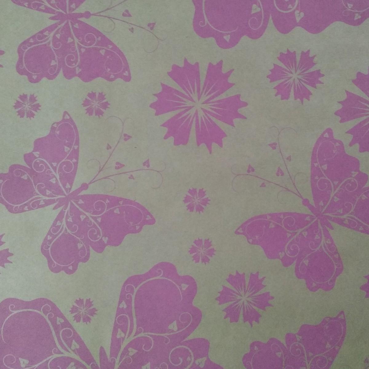 7207 Butterflies Print Strong Pink 50cmx25m Kraft Paper -1 Roll